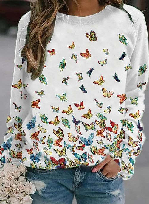 Animal Casual Round Neckline Long Sleeve Blouses
