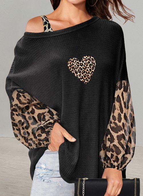Leopard Casual Oblique Neckline Long Sleeve Blouses