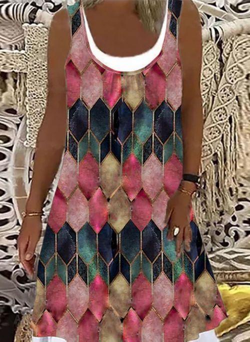 Casual Color Block Round Neckline Above Knee A-line Dress