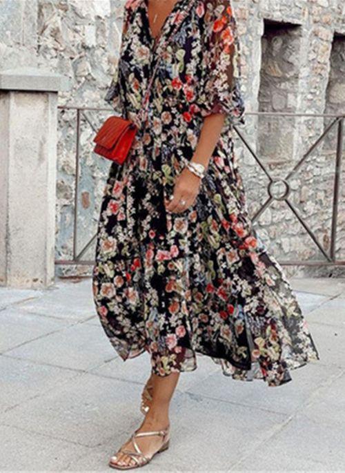 Casual Floral V-Neckline Midi Shift Dress