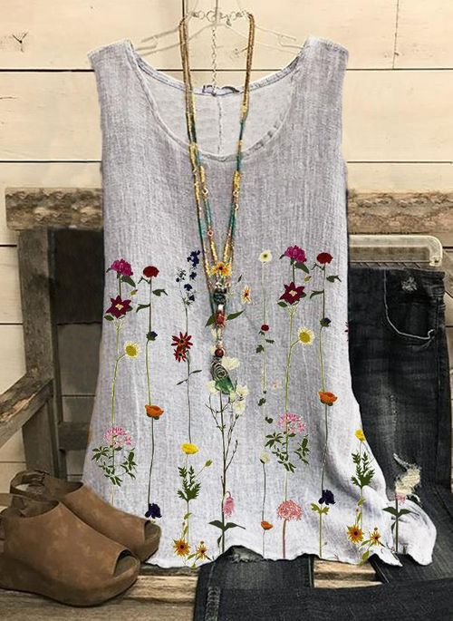 Floral Casual Round Neckline Sleeveless Blouses