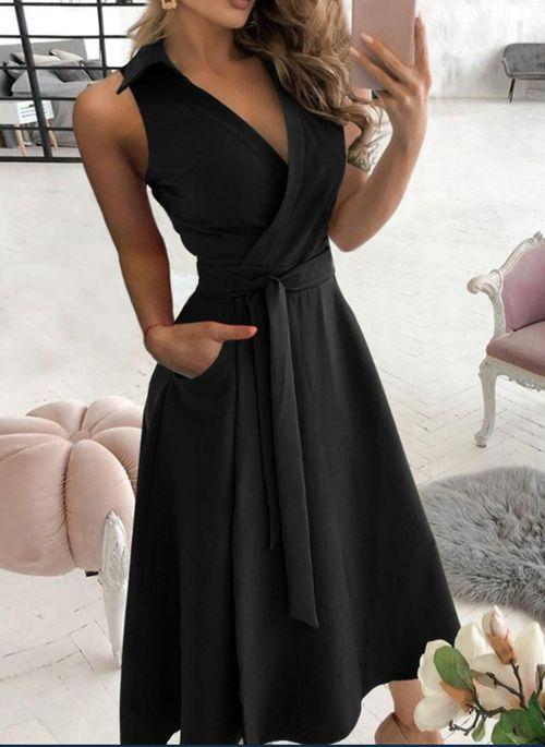 Casual Solid V-Neckline Midi A-line Dress