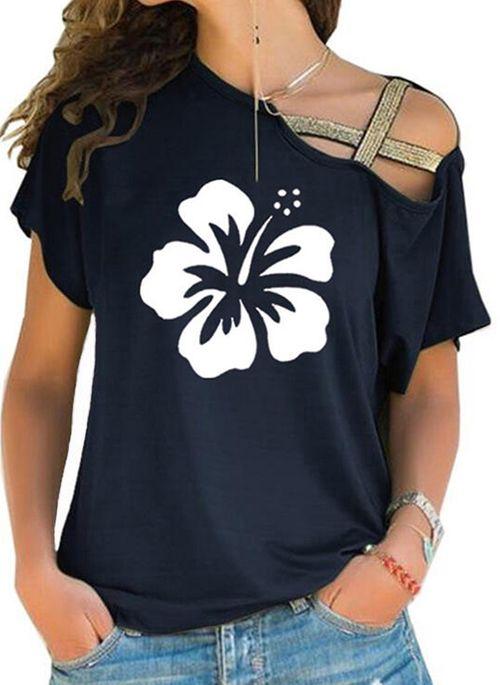 Floral Casual Oblique Neckline Short Sleeve Blouses