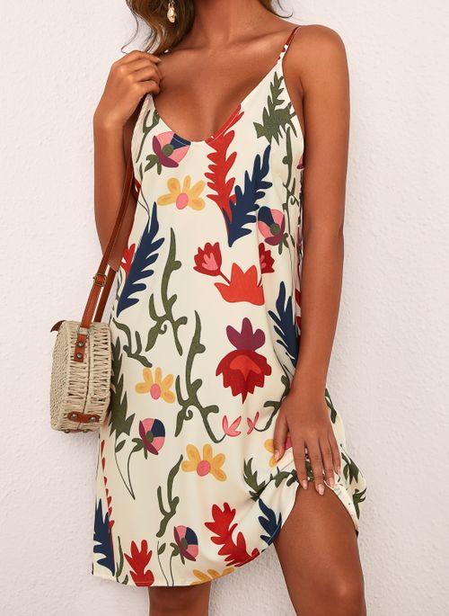 Casual Floral Slip Camisole Neckline Shift Dress