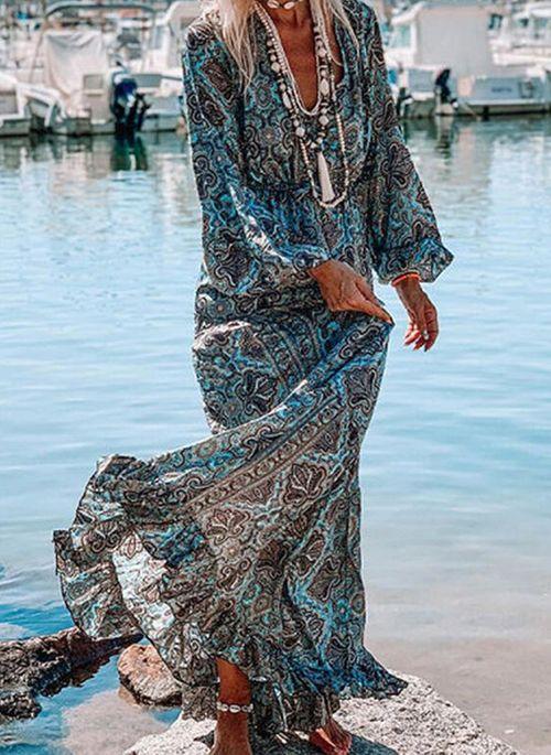 Vintage Floral Tunic V-Neckline X-line Dress
