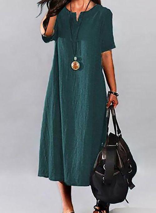Casual Solid Tunic V-Neckline Shift Dress