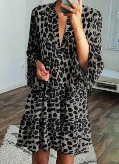 Casual Leopard Tunic V-Neckline Shift Dress