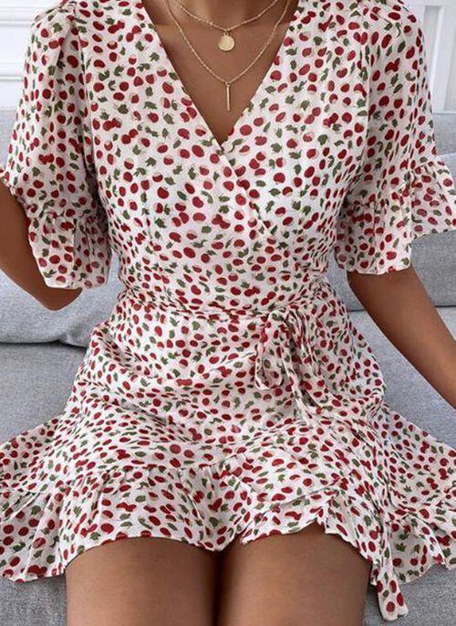 Casual Floral Skater V-Neckline X-line Dress