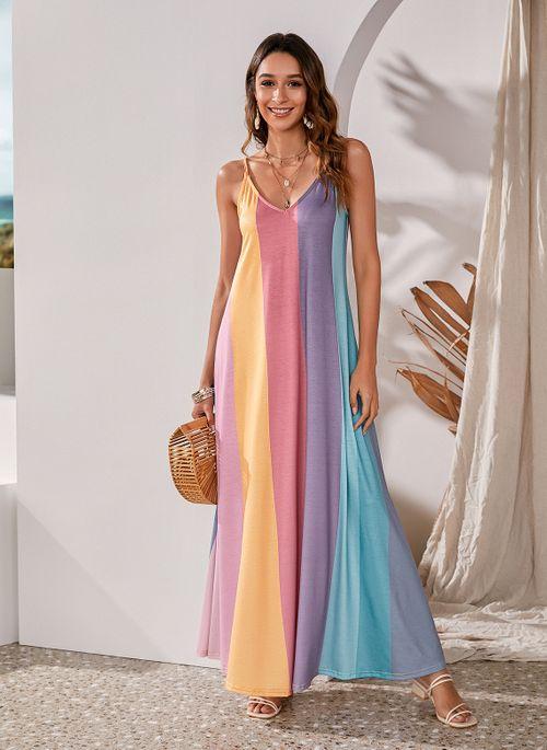 Casual Color Block Slip Camisole Neckline Shift Dress