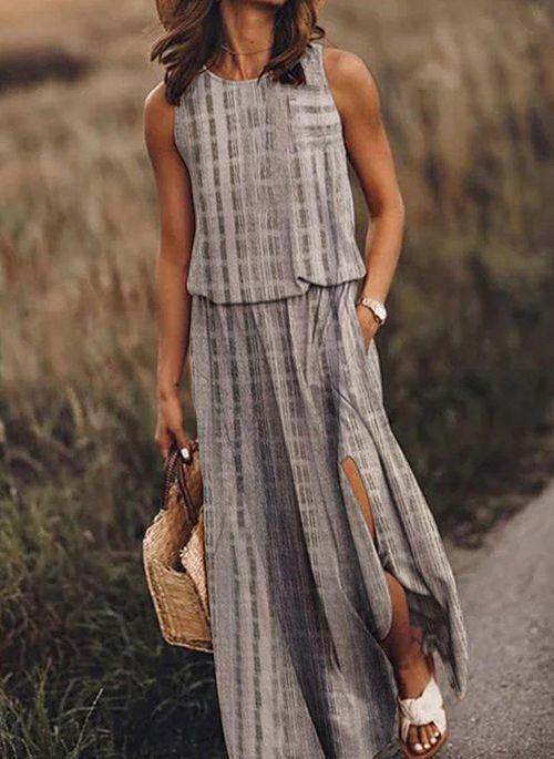 Casual Color Block Tunic Round Neckline X-line Dress
