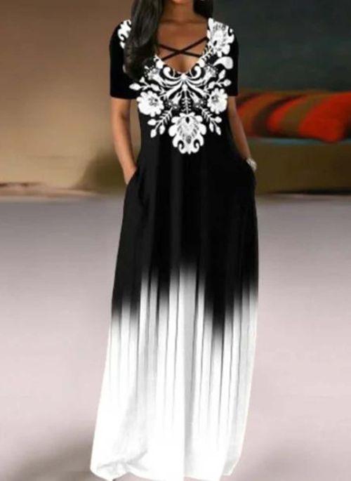 Casual Color Block V-Neckline Maxi A-line Dress