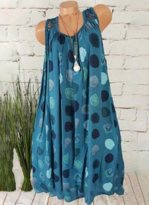 Plus Size Casual Color Block Tunic V-Neckline Shift Dress