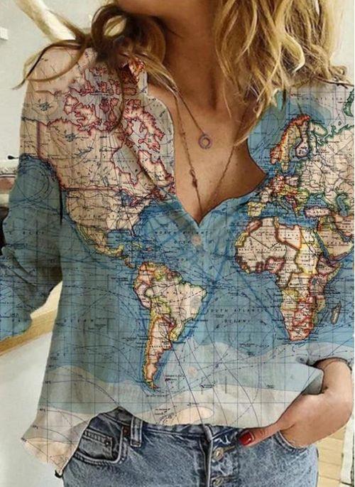 Geometric Casual Collar Long Sleeve Blouses