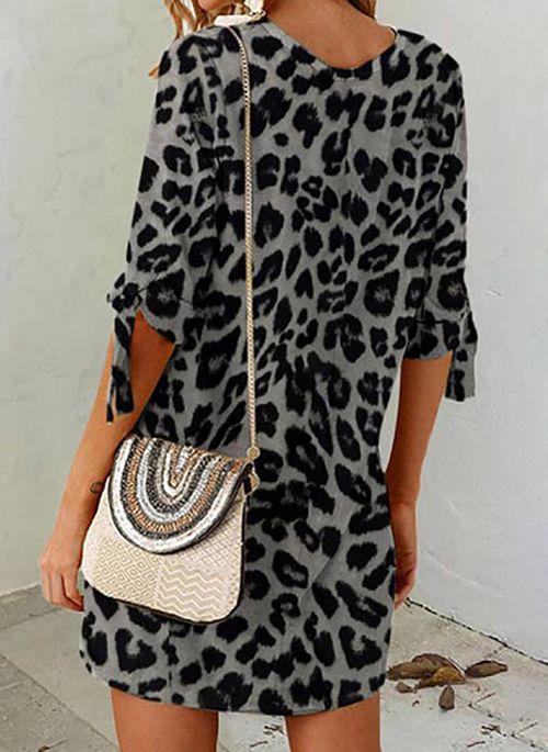 Casual Leopard Tunic Round Neckline Shift Dress