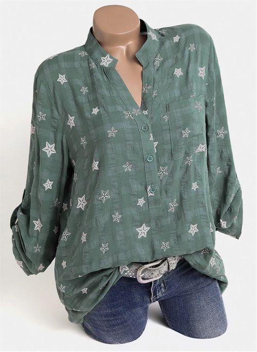 Geometric Casual V-Neckline Long Sleeve Blouses