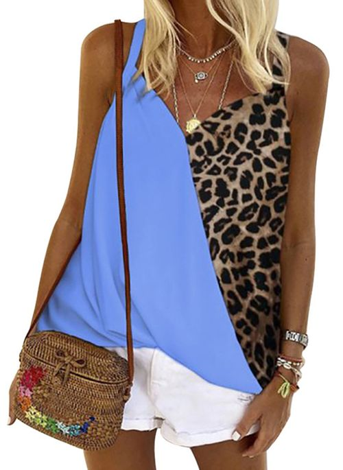 Leopard Casual Camisole Neckline Sleeveless Blouses