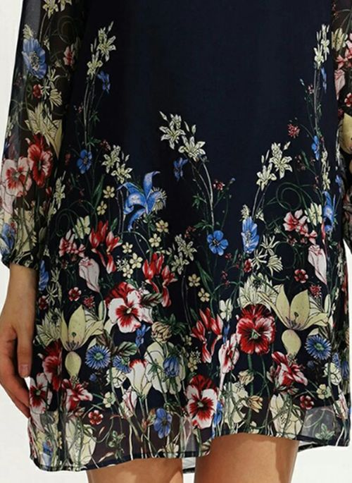 Chinese Casual Floral Tunic Round Neckline A-line Dress