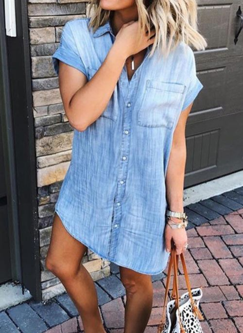 Casual Solid Tunic Collar A-line Dress
