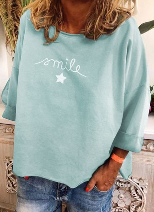 Geometric Casual Round Neckline Long Sleeve Blouses