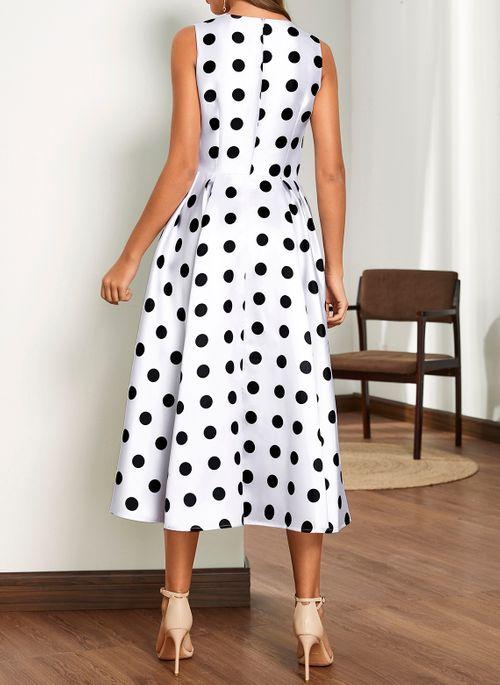 Casual Polka Dot Round Neckline Midi X-line Dress