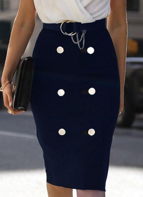 Casual Color Block Pencil V-Neckline Bodycon Dress