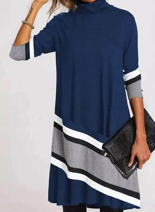 Casual Color Block Tunic High Neckline Shift Dress