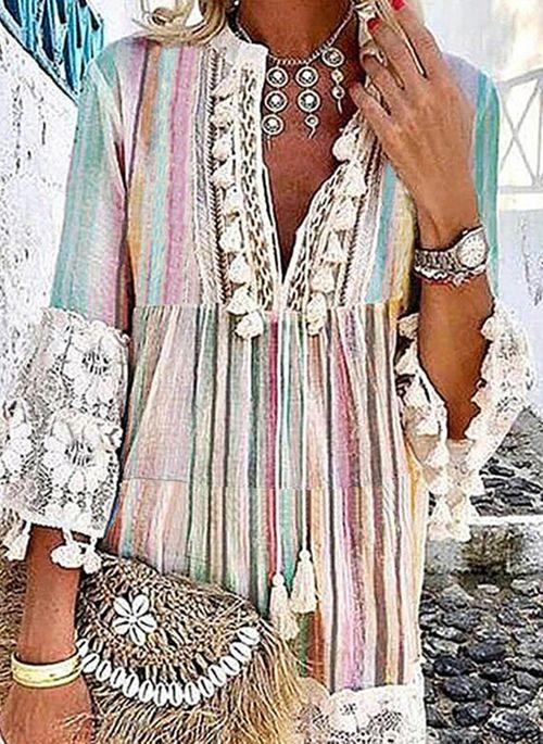 Casual Color Block Tunic V-Neckline Shift Dress