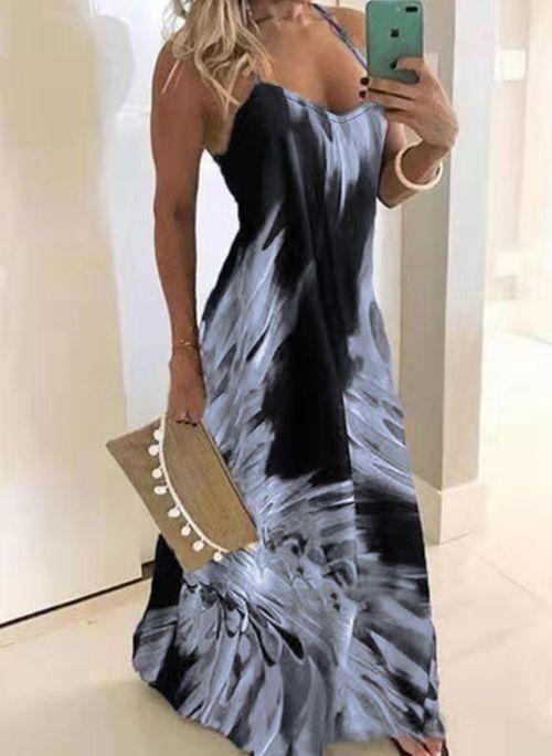 Casual Floral Round Neckline Maxi A-line Dress