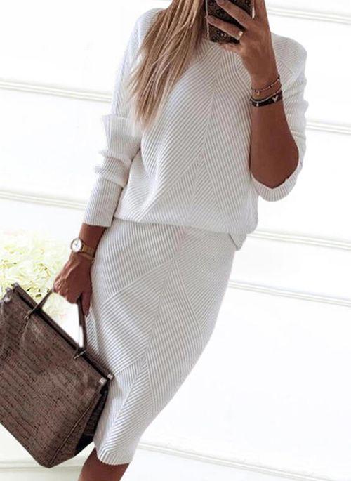 Elegant Solid Pencil Round Neckline Bodycon Dress