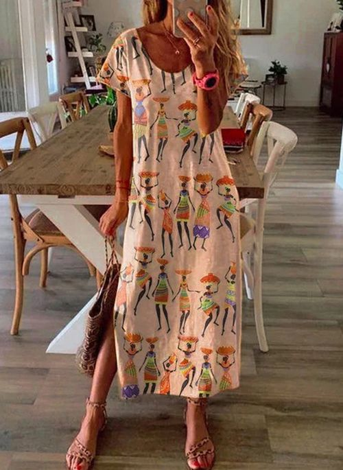 Casual Character Tunic Round Neckline A-line Dress