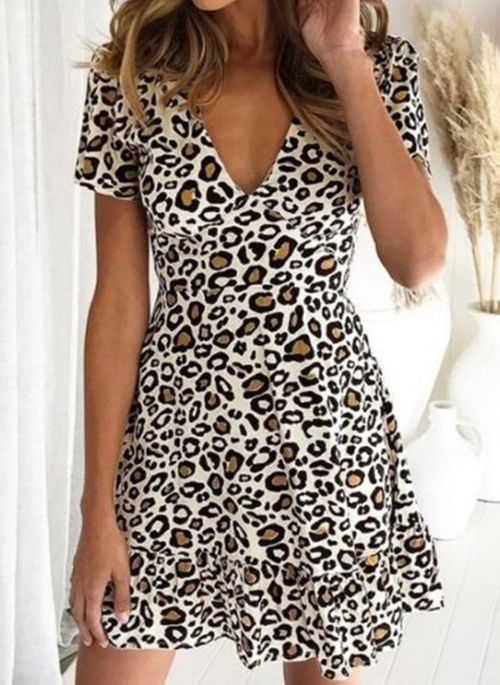 Casual Leopard V-Neckline Above Knee A-line Dress