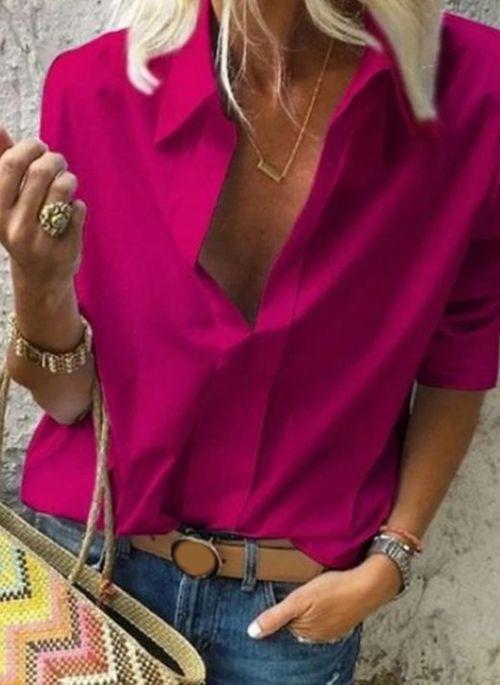 Solid Elegant Collar Long Sleeve Blouses