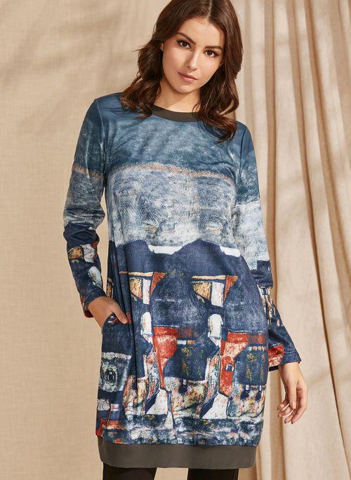 Casual Geometric Round Neckline Above Knee A-line Dress