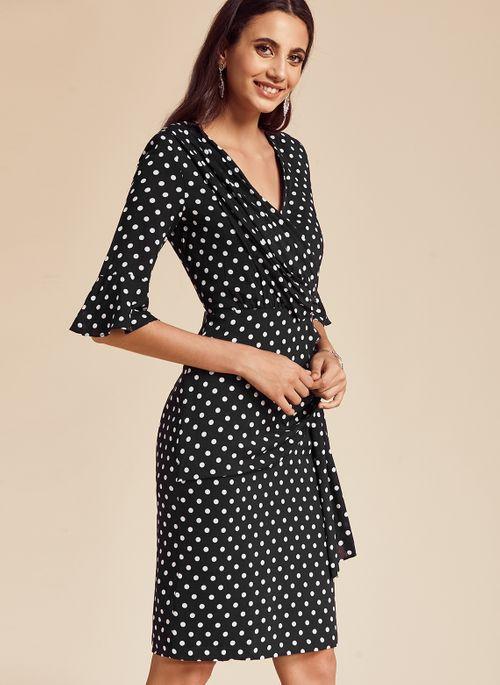 Basic Polka Dot Half Sleeve Midi X-line Dress