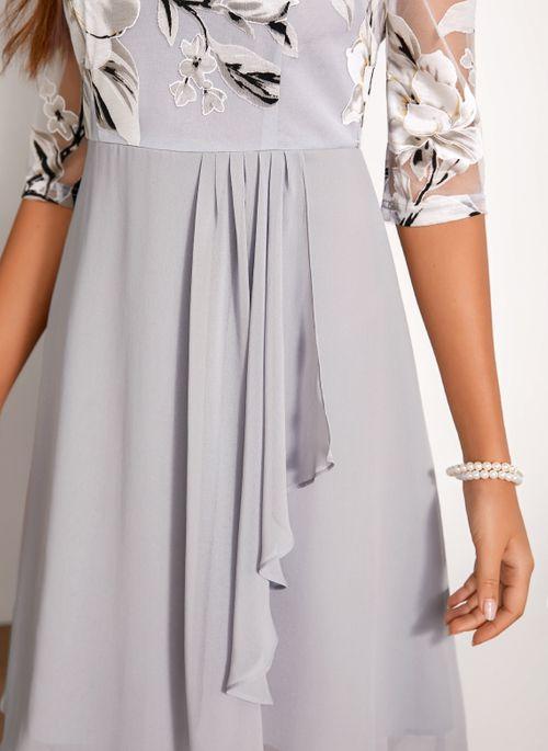 Elegant Floral Round Neckline Knee-Length X-line Dress