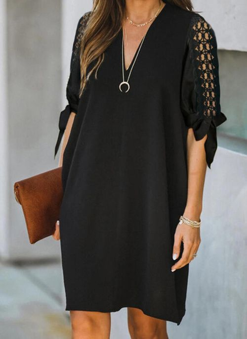 Casual Solid Tunic V-Neckline A-line Dress