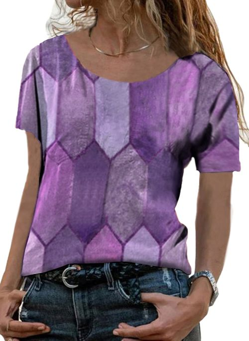 Geometric Casual Round Neckline Short Sleeve Blouses